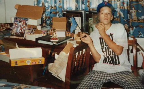 Did I mention I was a bit awkward? Here I am waving around my most prized Nolan Ryan card and the Oklahoma flag amongst my most proud baseball card possessions..