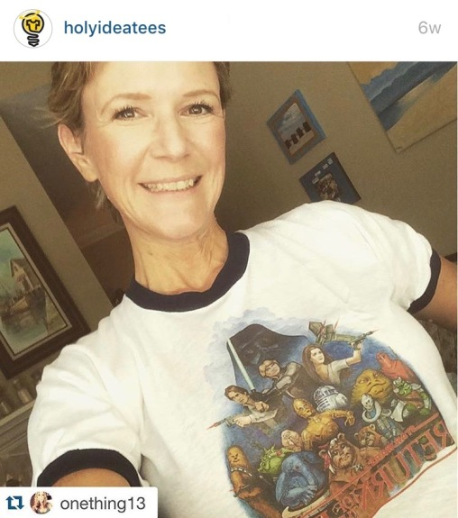 My sister with her 1983 Return of the Jedi t-shirt :)